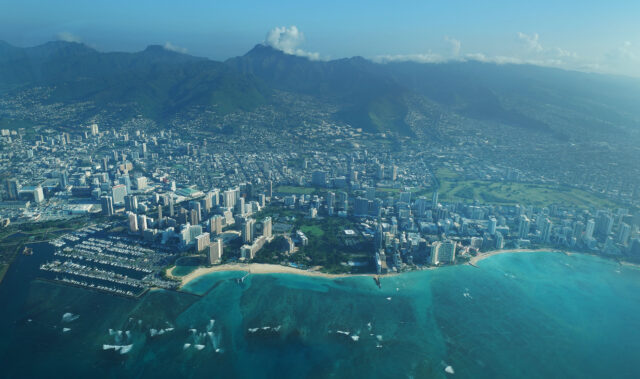 Aerial views of Waikiki and the Ala Wai Canal.