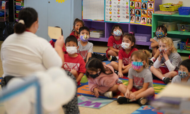 St. Ann School with masked early learning students during in person class during the COVID-19 pandemic.