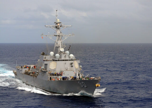 The Arleigh Burke-class guided-missile destroyer USS Chafy is underway in the Pacific during the 2010 Exercise RIMPAC. RIMPAC is a biennial multinational exercise aimed at strengthening regional partnerships and improving multinational interoperability.