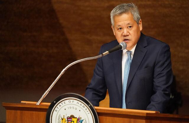House Speaker Scott Saiki gives a short speech intended for opening day of the legislature.
