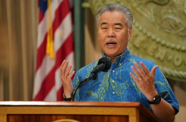 Governor David Ige gestures during press conference answering teleconferenced reporters questions. February 9, 2021