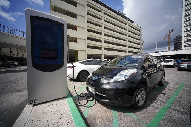 EV electric vehicle chargers at Ala Moana Shopping Center.