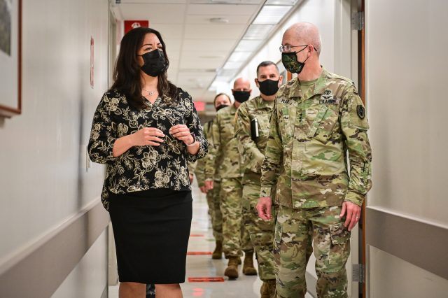 The Director of the Defense Health Agency, Lt. Gen. Ronald Place meets with Tripler's staff at Tripler Army Medical Center, in Hawaii.
