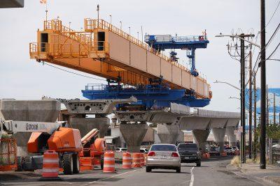 HART rail construction near Ualena Street as the rail moves towards metropolitan Honolulu.