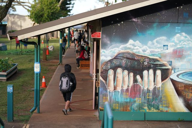 Lanai High and Elementary School students arrive in the morning before school starts.