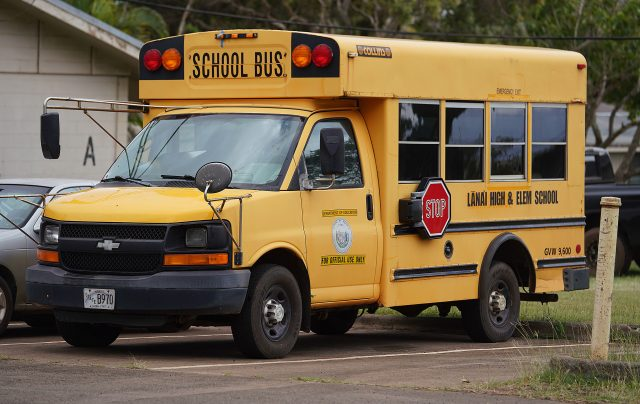 Lanai High and Elementary School school bus.