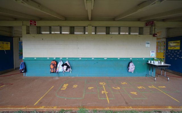 Lanai High and Elementary School, backpacks hang outside during limited in person class during the COVID-19 pandemic.