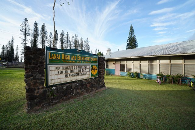 Lanai High and Elementary School sign.
