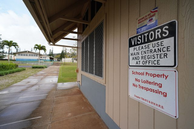 Lanai High and Elementary School signs during COVID-19 pandemic.