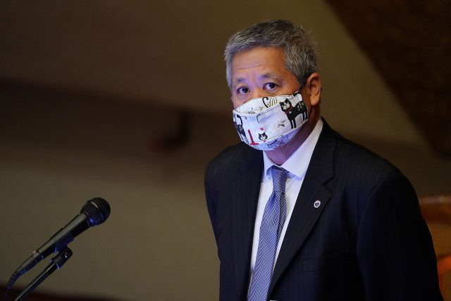 House Speaker Scott Saiki during floor session held at the Capitol during the COVID-19 pandemic. March 9, 2021.