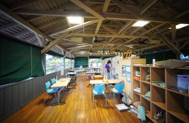 Hanahauoli School using some covered areas as classrooms due to the COVID pandemic.
