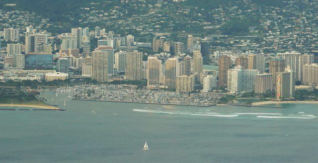 Aerial photograph of Ala Wai Yacht Harbor and Waikiki.