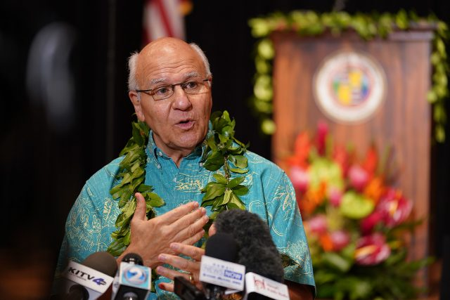 Mayor Rick Blangiardi speaks to media during press conference held after his State of Honolulu speech.