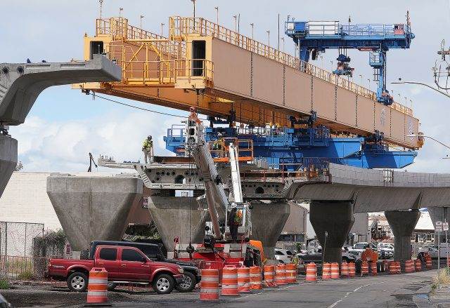 Rail guideway supports and guideway on Ualena Street near Lagoon Drive. March 16, 2021