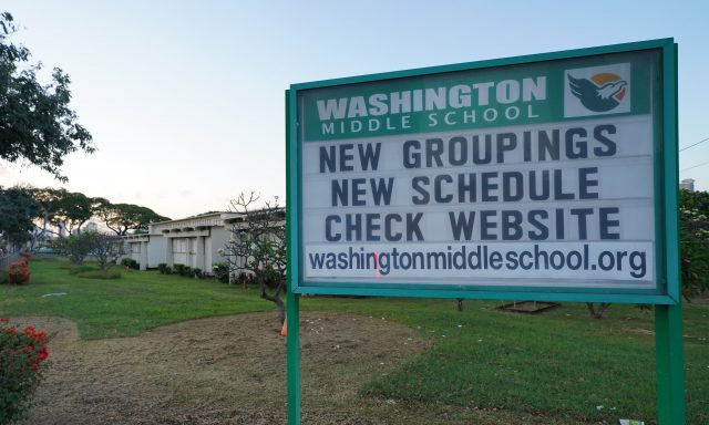Washington Middle School sign during COVID-19 pandemic.
