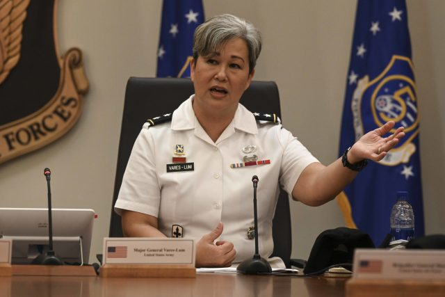 U.S. Navy Maj. Gen. Suzy Vares-Lum, U.S. Indo-Pacific Command mobilization assistant to the commander, speaks during Pacific Air Forces' first Women's, Peace, and Security (WPS) symposium, hosted from Joint Base Pearl Harbor-Hickam, Hawaii, March 31, 2021. Vares-Lum provided remarks about operationalizing WPS in the defense sector. (U.S. Air Force photo by Tech. Sgt. Nick Wilson)