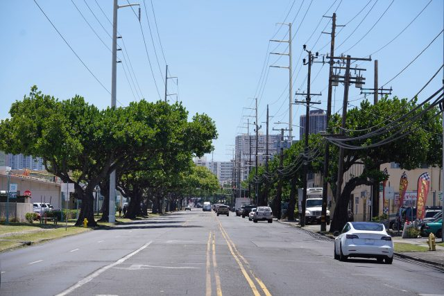 Honolulu Community College campus on the left where the future rail guideway will run on the left side, HECO power lines need to be relocated along Dillingham Boulevard.