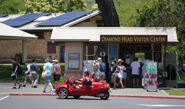 Tourism starts back up during the COVID-19 pandemic with scores at Diamond Head Visitor Center.
