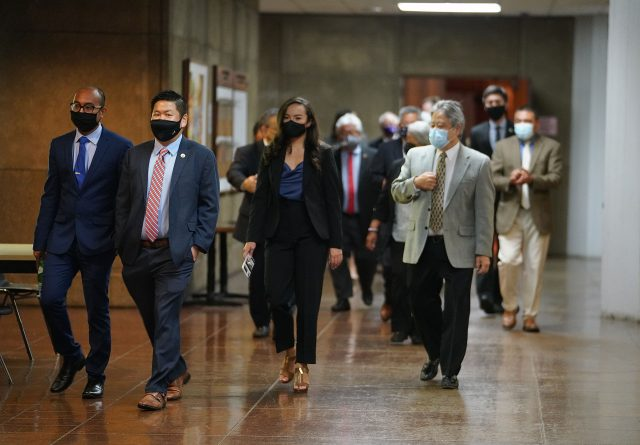 House members head to the Capitol Auditorium to caucus during COVID-19 pandemic. April 27, 2021