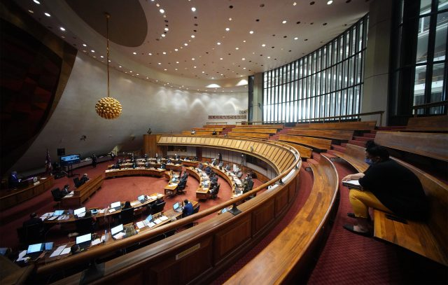 House Representatives floor session with empty gallery during COVID-19 pandemic.April 27, 2021