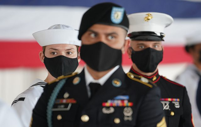 US Military personnel representing the Marines, US Army and U.S. Navy during a US Indo-Pacific Command change of ceremony held at Kilo Pier at Joint Base Pearl Harbor Hickam. April 30, 2021