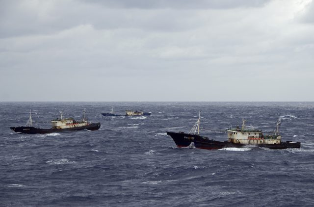 (Oct. 8, 2007) ONBOARD THE USCGC BOUTWELL - Boarding teams, from the U.S. Coast Guard Cutter Boutwell, boarded the Fishing Vessels Lu Rong Yu 6105, 2660 and 2659. The boarding team quickly determined that all the vessels were rigged for high-seas drift net fishing and is currently escorting the vessels back into Chinese custody. The Boutwell is currently deployed as U.S. Coast Guard representatives in the North Pacific Coast Guard Forum (NPCGF). This forum was developed to combat illegal fishing and increase international maritime safety and security on the Northern Pacific Ocean and its borders. (Coast Guard photo by Petty Officer Jonathan R. Cilley)