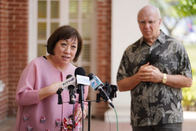 HART Board nominee Colleen Hanabusa speaks with Mayor Blangiardi at a press conference.