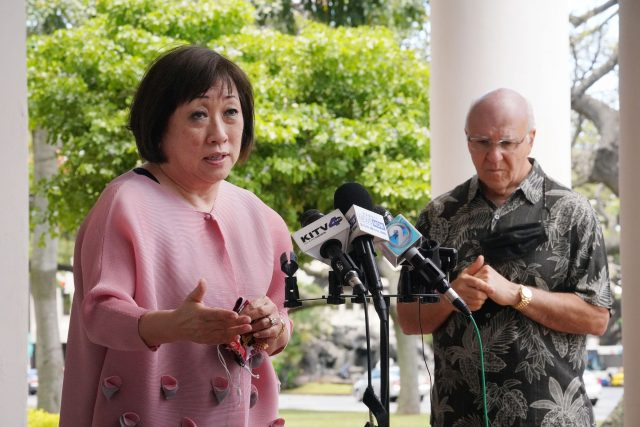 Colleen Hanabusa speaks to media after Mayor Blangiardi announced the appointment of Hanabusa to the HART Board.