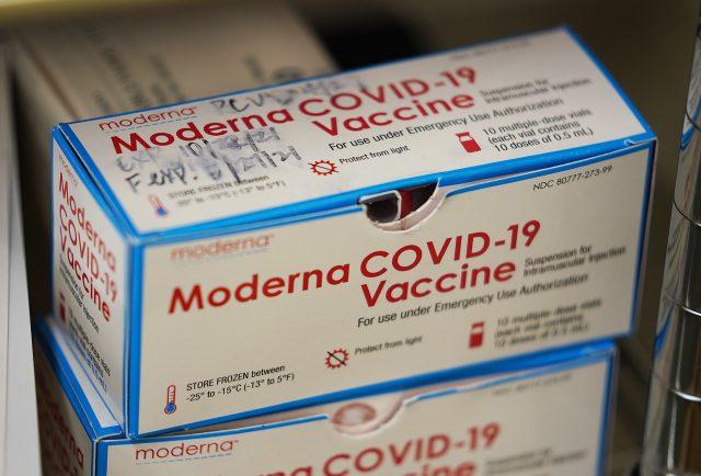 Waimanalo Health Center Moderna COVID-19 vaccine box.