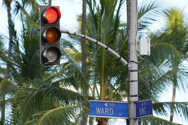 Red light at the intersection of Ward Avenue and King Street.