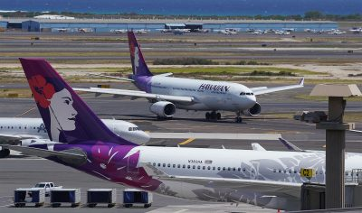 Hawaiian Airlines aircraft arrives to the gate at the Daniel K. Inouye International Airport.