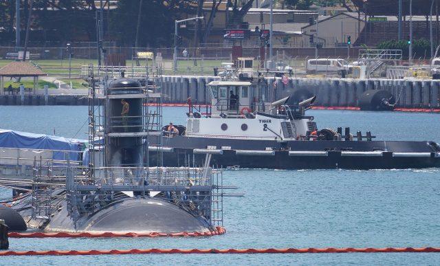 Submarine docked at Joint Base Pearl Harbor-Hickam.