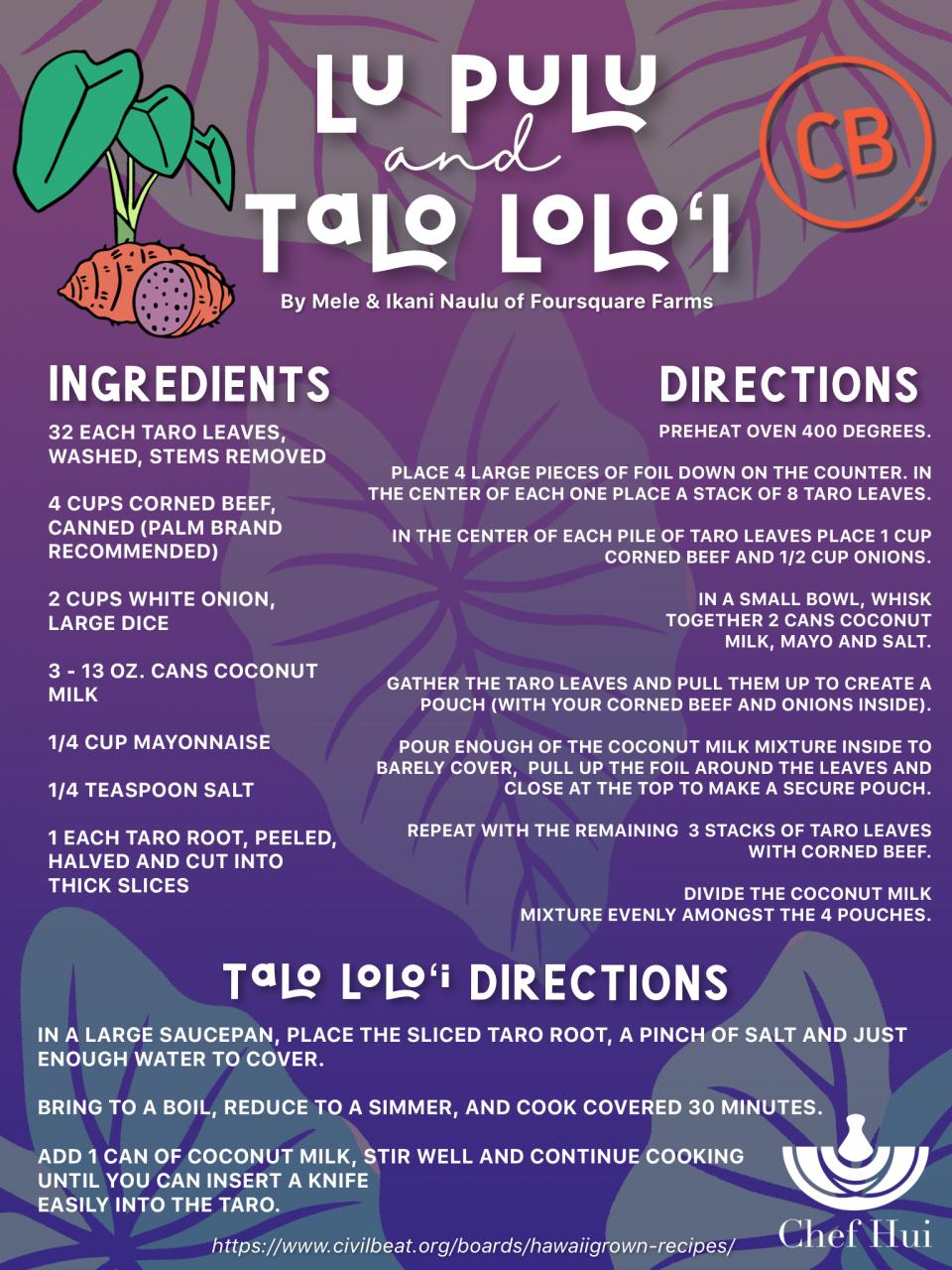 Lu Pulu with Talo Loloʻi from Chef Hui