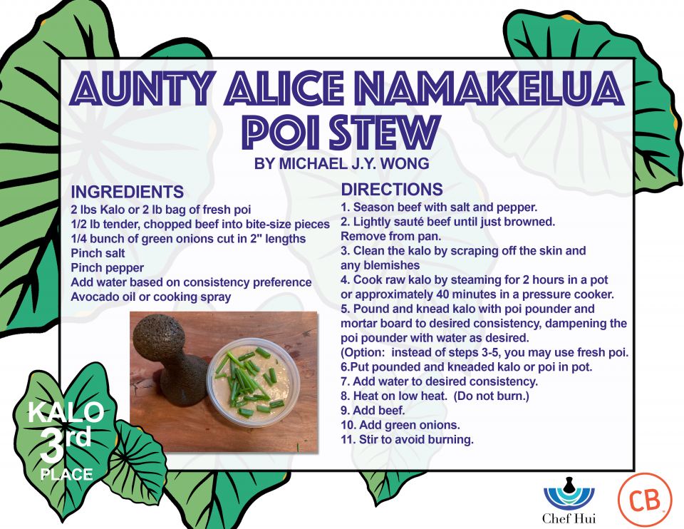 Kalo 3rd Place Aunty Alice Namakelua Poi Stew