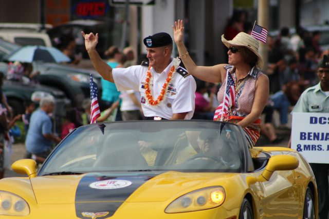 Maj. Gen. Charles Flynn, commanding general, 25th Infantry Division, was the featured keynote speaker during the 68th annual Veterans Day Parade in Wahiawa, Nov. 11. (U.S. Army photo by Staff Sgt. Catrina Herbert, 3rd BCT Public Affairs)