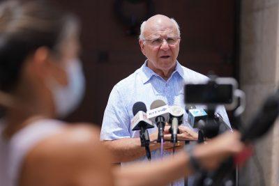 Mayor Rick Blangiardi answers media questions about Oahu's move to Tier 4 outside Honolulu Hale.