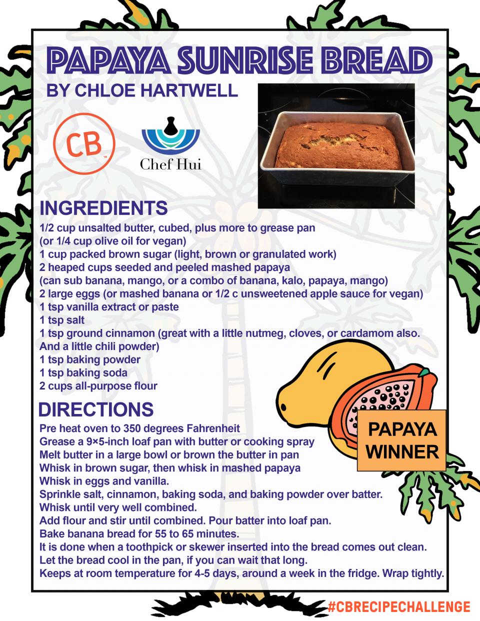 Papaya Sunrise Bread