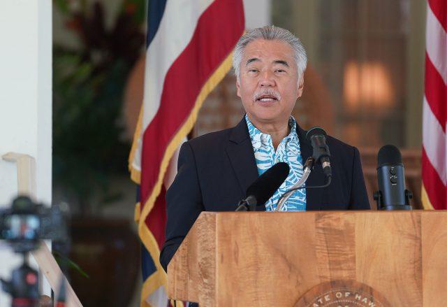 Governor David Ige speaks during bill signing ceremony at Washington Place.