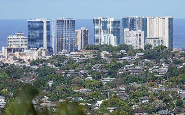 View of Kakaako from Manoa showing the Honolulu skyline with the same height limit.