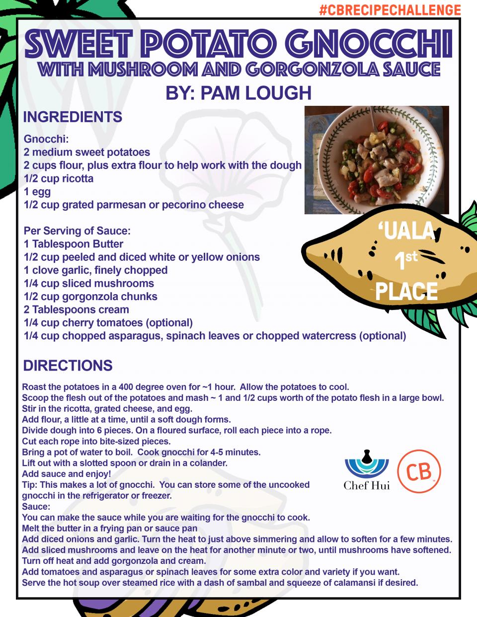 Sweet Potato Gnocchi with Mushroom and Gorgonzola Sauce