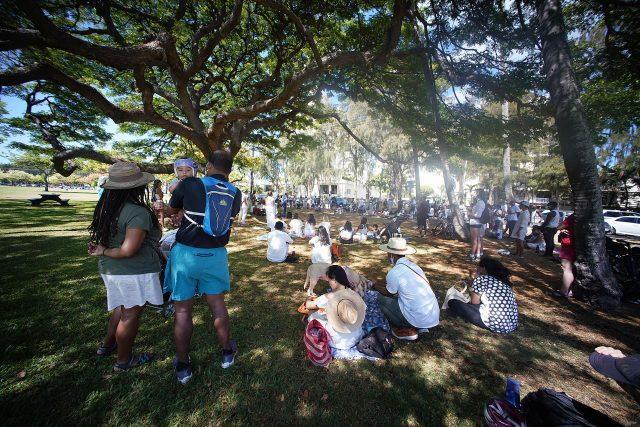 People gather for Juneteenth celebration held at Kapiolani Park.