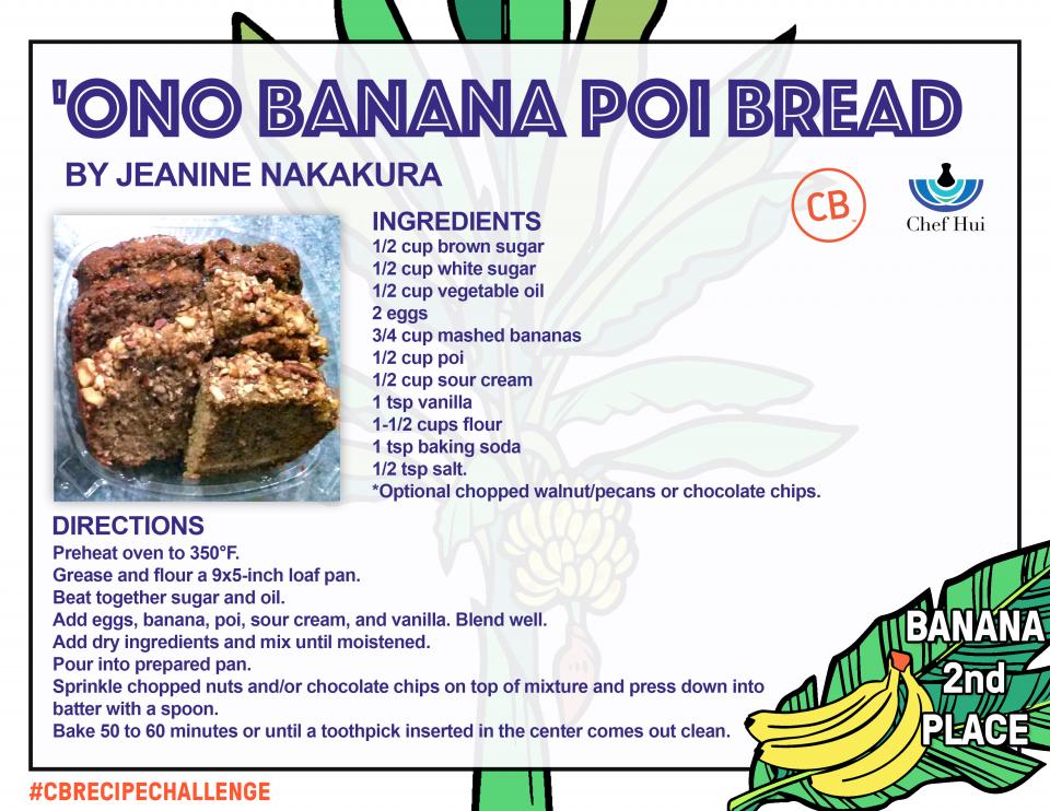 'Ono Banana Poi Bread – 2nd Place