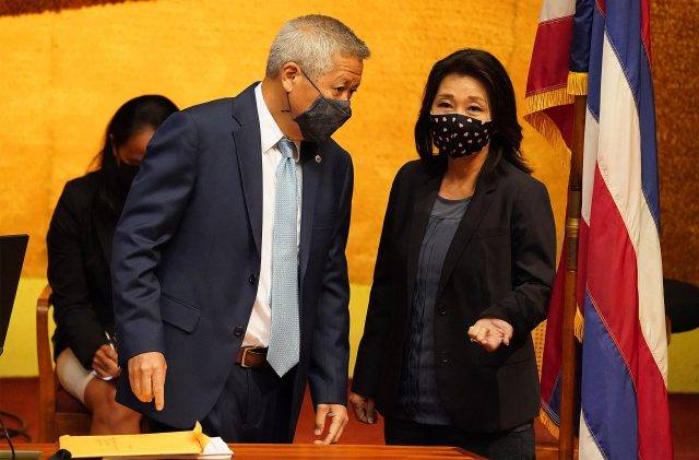 House Speaker Scott Saiki and Representative Sylvia Luke during legislative special session at the Capitol.