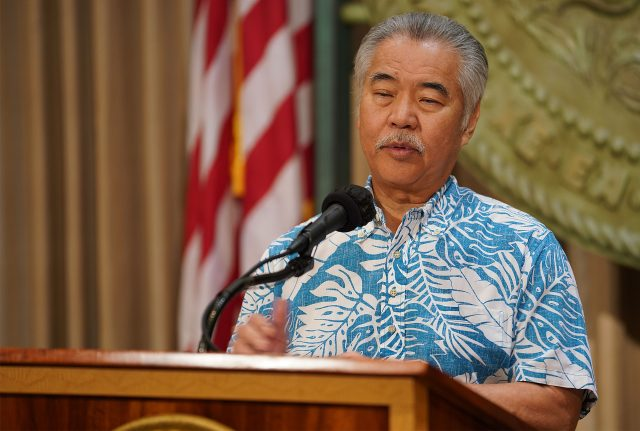 Governor David Ige during press conference announcing bills that he will veto at the Capitol.