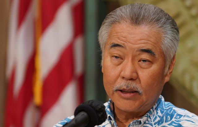 Governor David Ige holds a press conference announcing bills that he was going to veto.