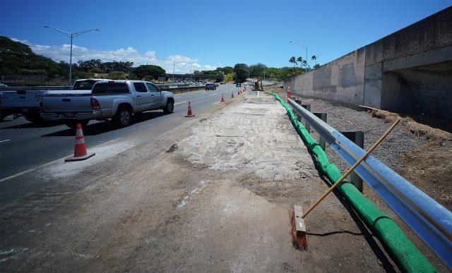 Board of Water Supply water main repair near Moanalua Freeway.