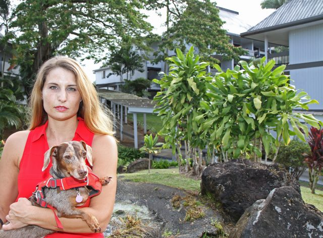 Kristen Alice, who works for Hope Services and lives at Waiakea Villas, is helping some of her neighbors who face an upcoming eviction in August find new housing. Photo: Tim Wright