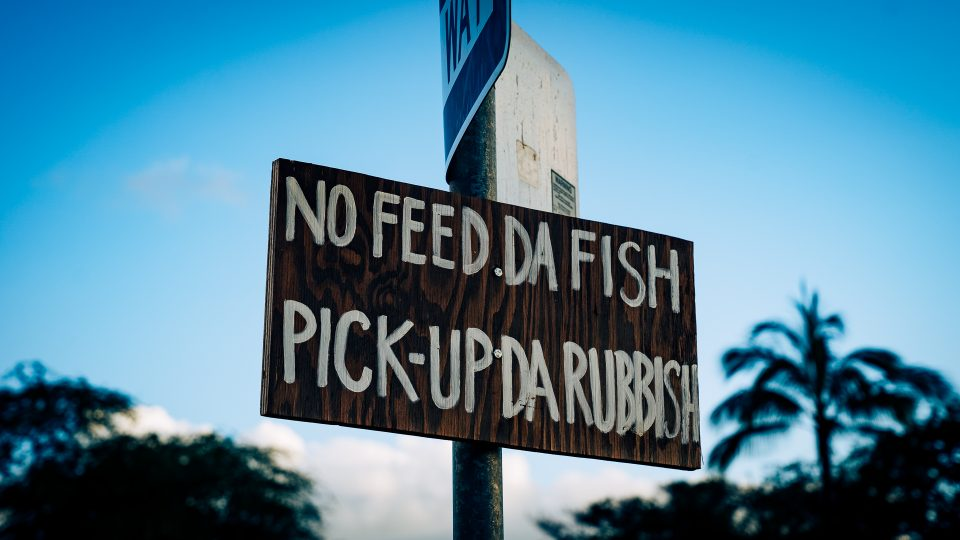 Homemade signs made by community members remind beachgoers at Pokai Bay Beach Park to mind their trash.