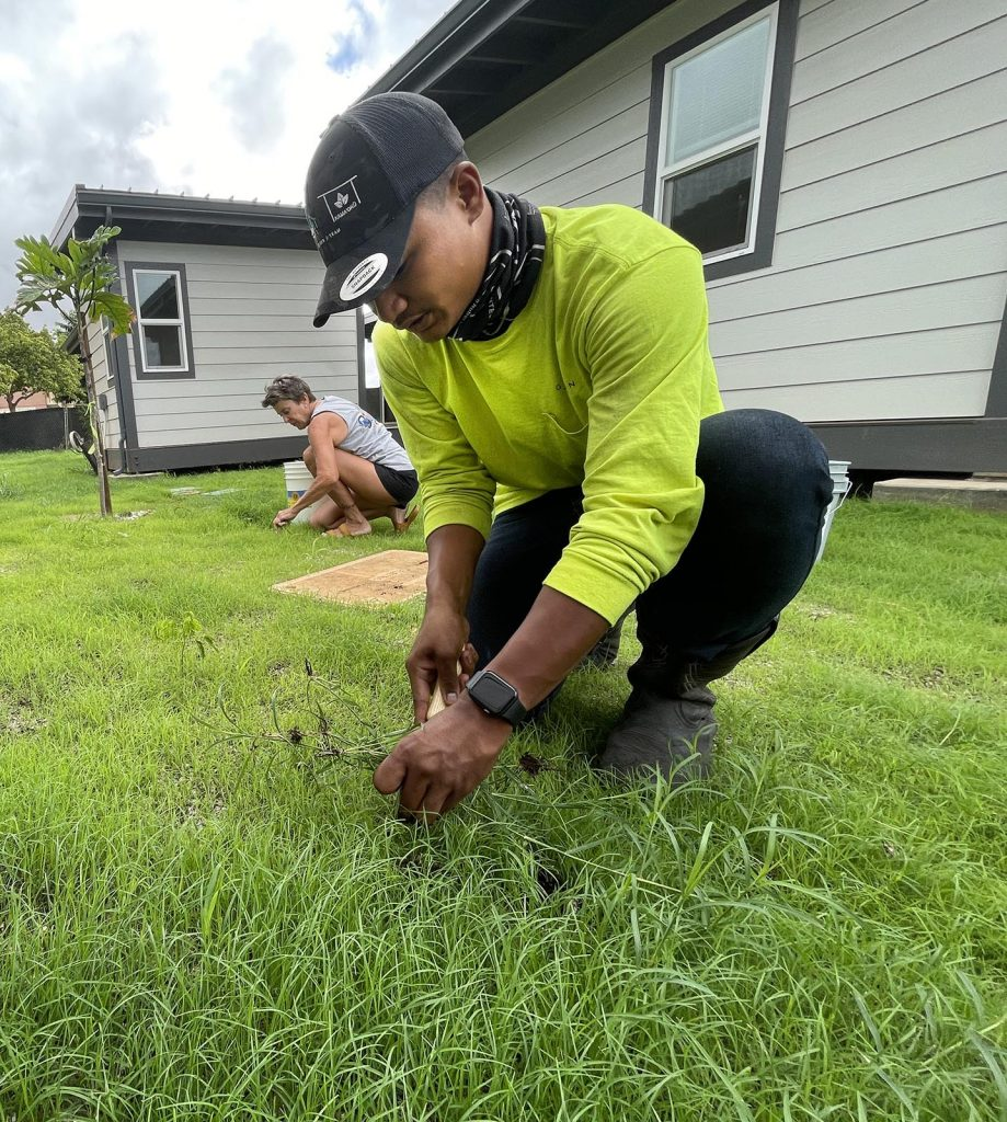 Gregory Cantero (right) and Judy Plumer (left) volunteer with HomeAid Hawai'i to pull weeds from the newly landscaped lawn of Kama'oku neighborhood in Kapolei, Friday, July 16, 2021. Homeaid Hawai'i is a non-profit organization that donates professional building services and materials to projects that help to alleivate homelessness in Hawai'i. (Ronen Zilberman photo Civil Beat)