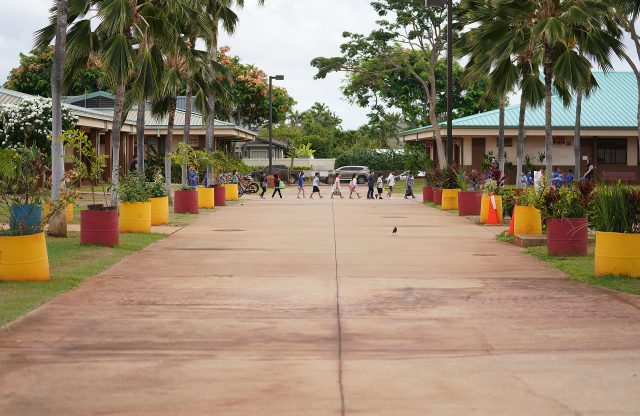 Holomua Elementary School students head to the cafeteria to enjoy lunch during the COVID-19 pandemic.